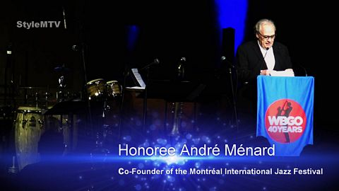 Honoree André Ménard of MIJF at WBGO Champions of Jazz 2019