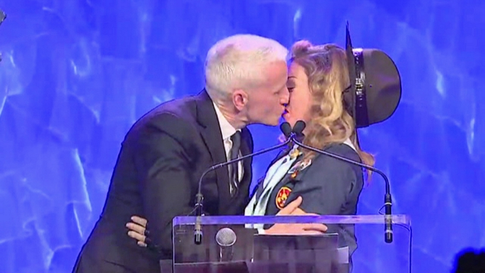 With Vito Russo Award - Madonna Presents Anderson Cooper